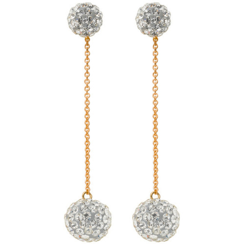 White crystal ball shamballa 9Ct Gold drop Stud Earrings