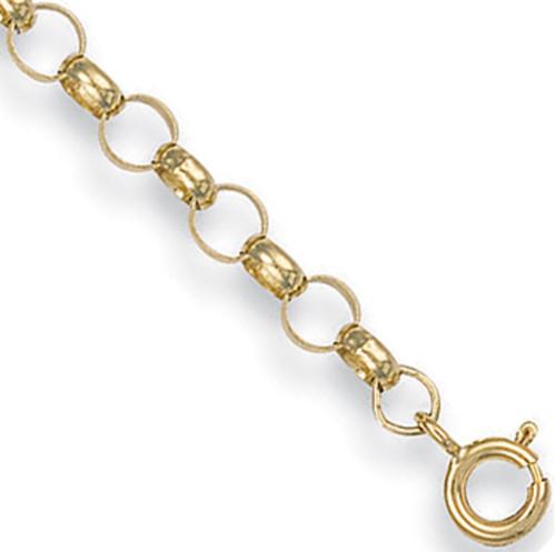 """Ladies 7.5"""" 4.5mm thick 9ct Gold round link Belcher Bracelet 3.8g"""