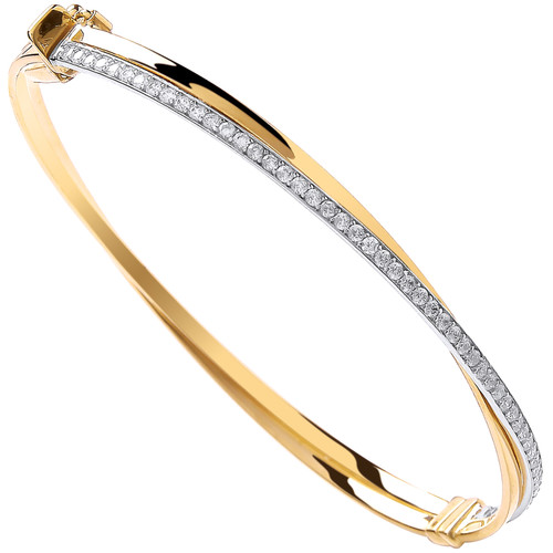 Ladies 9ct gold Cubic Zirconia Crossover Hinged bangle 5.8g