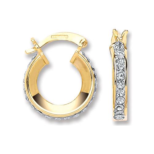 1.3cm wide 9ct gold crystal set hoop earrings