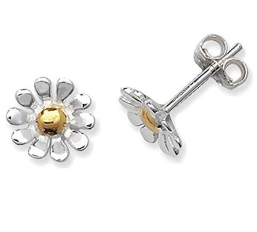 Sterling Silver Daisy Flower stud Earrings with Gold plated detail