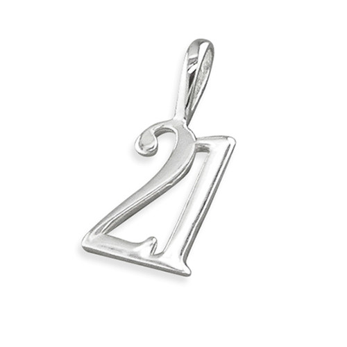 Sterling silver small 21st Birthday Pendant Charm