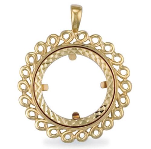 Gold Half sovereign coin pendant Mount