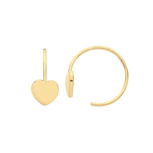 9ct Gold thread in hoop Heart earrings