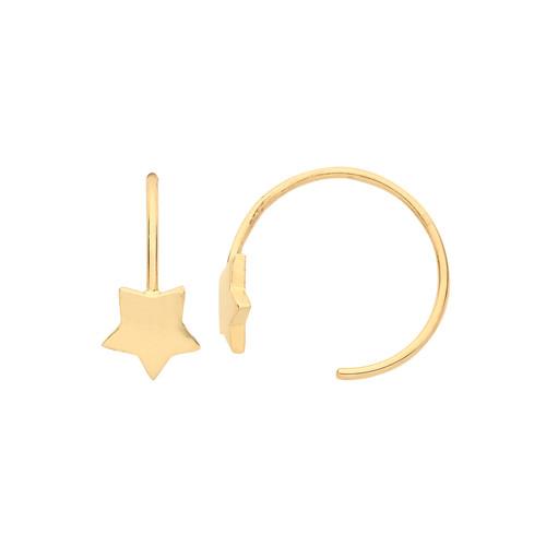9ct Gold thread in hoop Star earrings