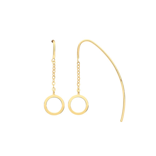9ct Gold threader earrings with circle charm