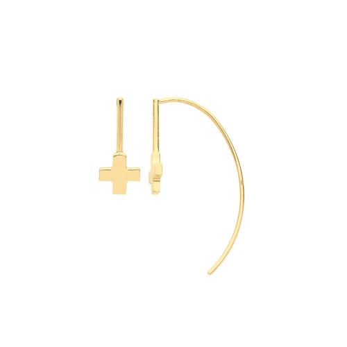 9ct Gold threader cross earrings