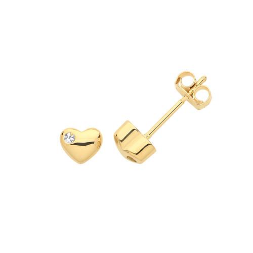 9ct Gold Cubic Zirconia set Puffy Heart stud earrings