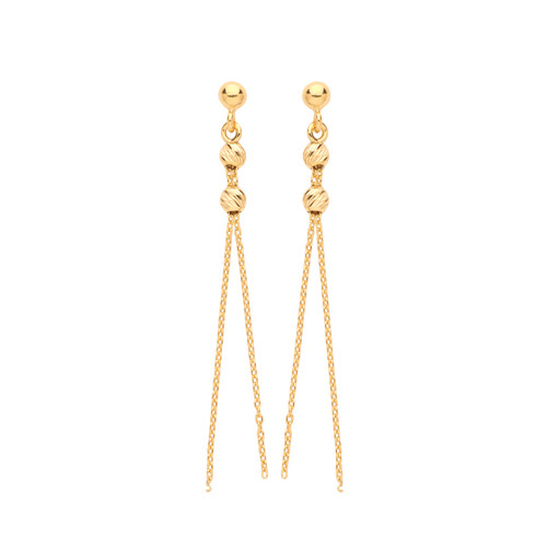9ct Gold Double tassel and bead drop stud earrings 1.2g