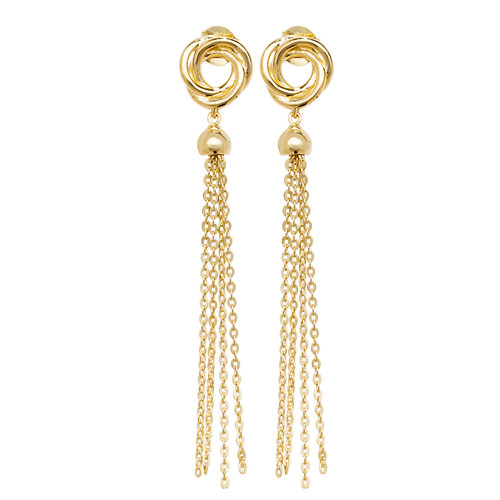 9ct Gold tassel and knot drop stud earrings 1.7g
