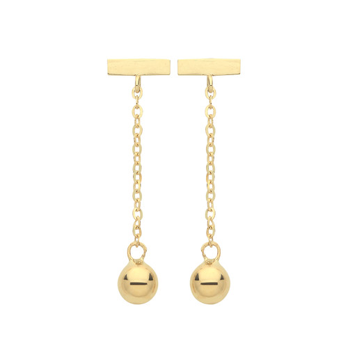 9ct Gold Bar and Bead drop stud earrings 0.6g