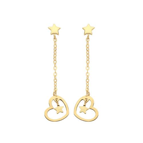 9ct Gold star in heart drop stud earrings 0.6g