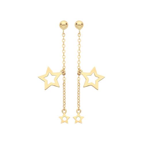 9ct Gold Double star drop stud earrings 0.8g