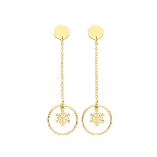 9ct Gold snowflake in circle drop stud earrings 0.99g