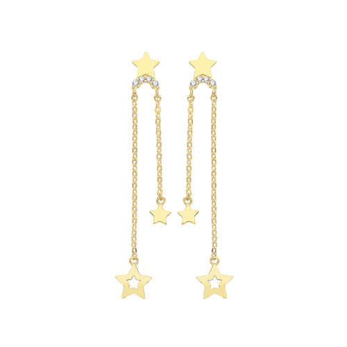 9ct Gold double strand and stars drop stud earrings 0.72g