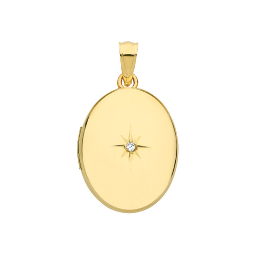 9ct gold gold oval shaped diamond set locket