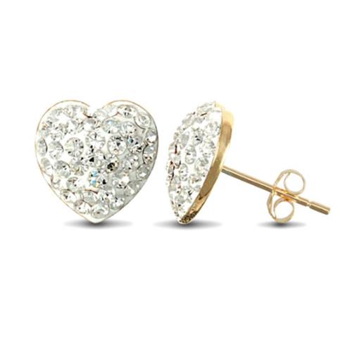 9ct Gold heart shaped crystal stud earrings