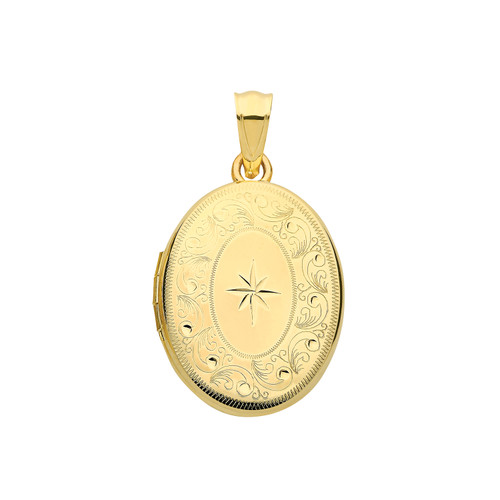 9ct gold oval shaped star and floral pattern engraved locket
