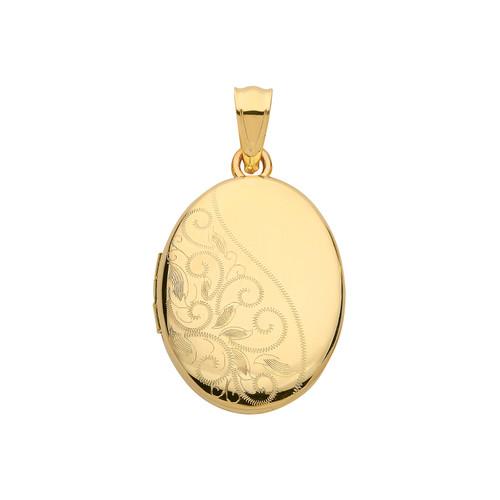 9ct gold oval shaped Half engraved locket