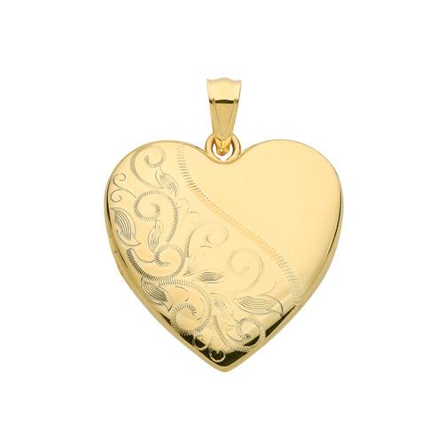 Large 9ct gold heart shaped Half engraved Heart shape Locket