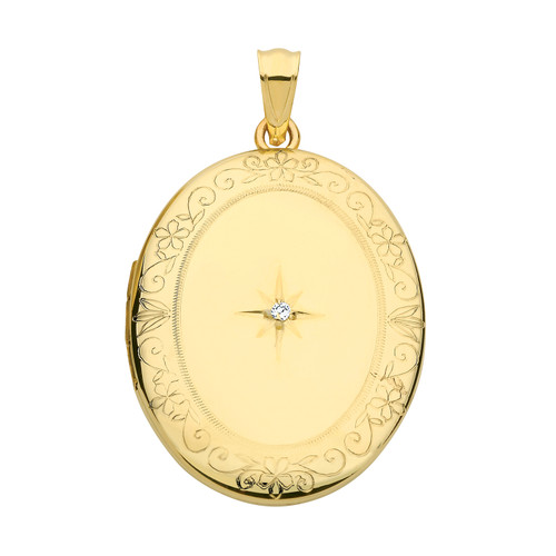 Large 9ct gold gold oval shaped diamond set locket with engraved edges 3.7g