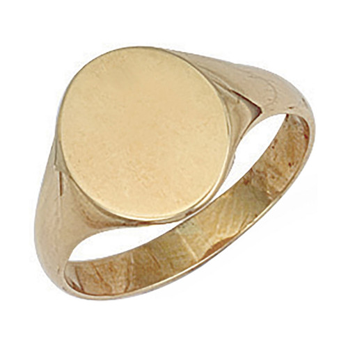 9ct Gold plain oval shaped signet ring  3g