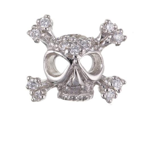 Sterling Silver Gents Single Skull and bones Cubic Zirconia stud earring
