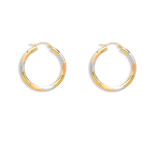 3cm wide 9ct Gold Yellow, rose and white diamond cut hoop earrings 1.4g