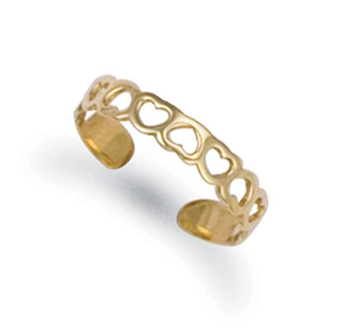9ct Gold Hearts Pattern toe ring