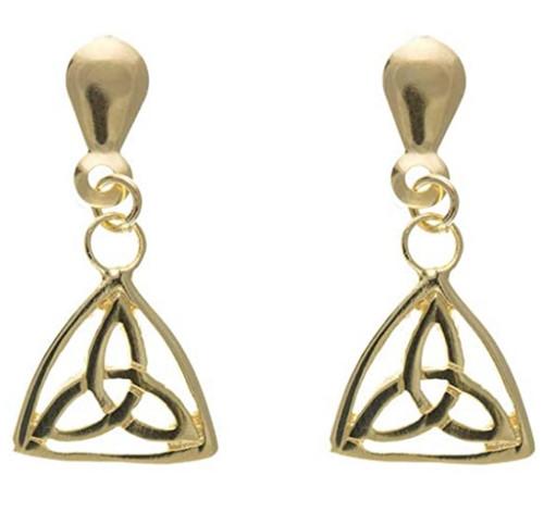 9ct Gold Celtic Triquetra drop stud earrings