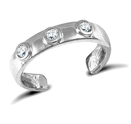 9ct White gold Cubic Zirconia toe ring
