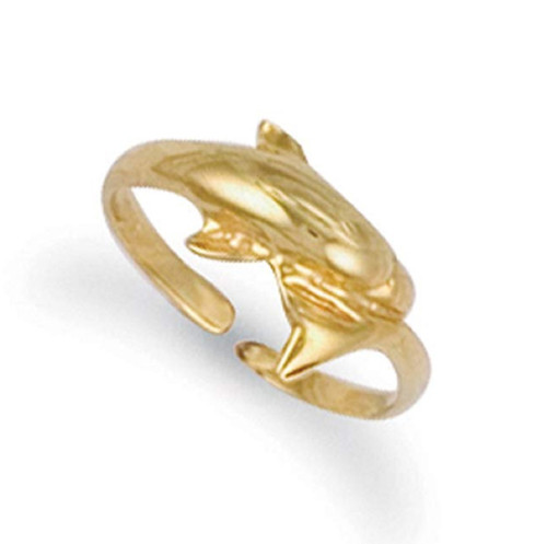 9ct Yellow gold Dolphin toe ring