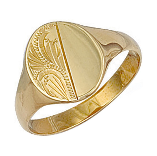 9ct Gold Half engraved half plain oval shaped signet ring  3g