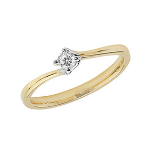 9ct Gold 0.1ct Diamond Twist style Solitaire ring
