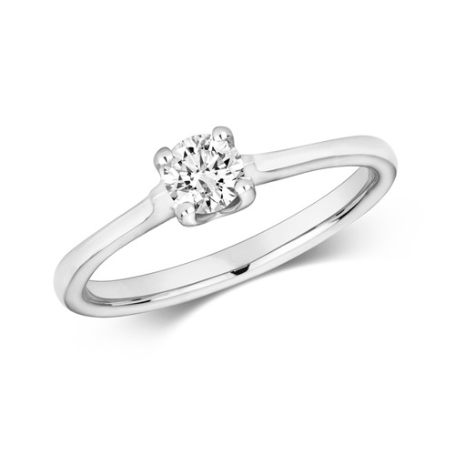 9ct White Gold 0.27ct Diamond Webbed tulip style Solitaire ring