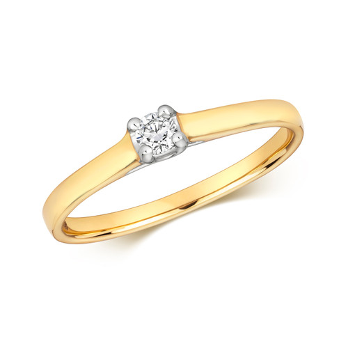 9ct Gold 0.1ct Diamond crossover style Solitaire ring