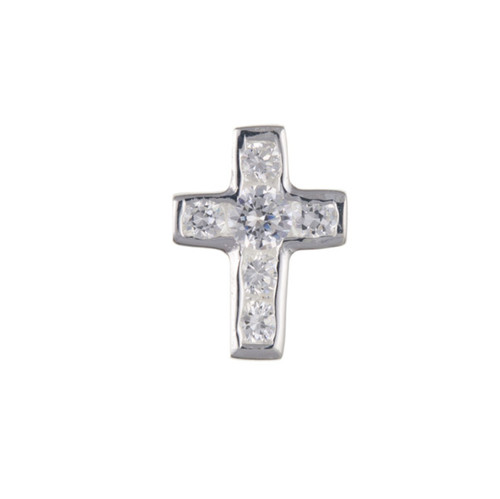 Sterling Silver Gents Single Cubic Zirconia cross stud earring