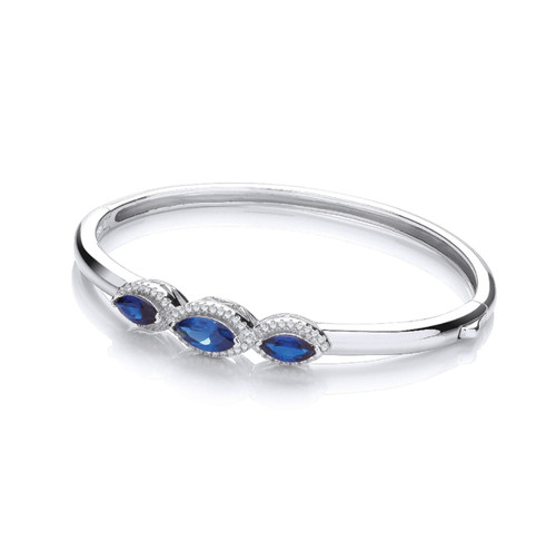 J-Jaz Rhodium plated Sterling silver Blue Cubic Zirconia hinged Bangle