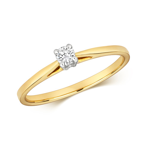 9ct Gold 0.1ct Diamond Cathedral style Solitaire ring