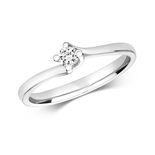 9ct White Gold 0.1ct Diamond Twist style Solitaire ring