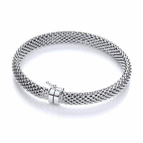 J-Jaz Rhodium plated Sterling silver mesh bangle Bangle