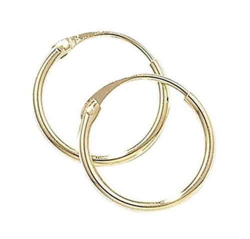 10mm wide 9ct gold hinged sleeper hoop Earrings