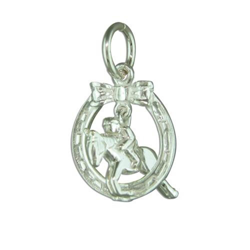 Sterling Silver Horse through horseshoe Charm