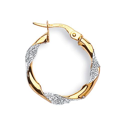 1.5cm wide 9ct gold Moondust set twist hoop Earrings 1.1g