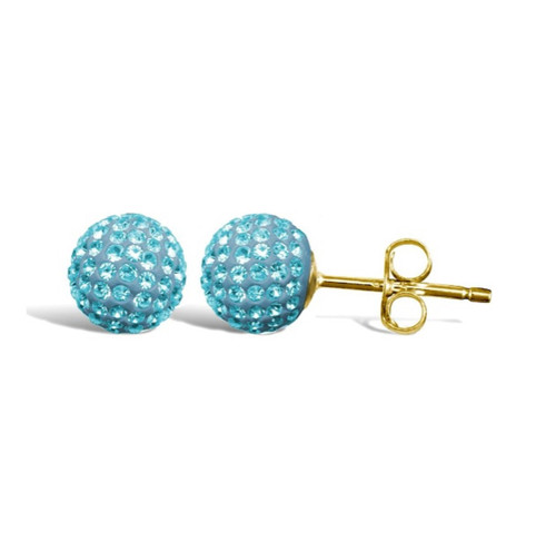 8MM Blue Crystal shamballa style 9ct Gold stud Earrings