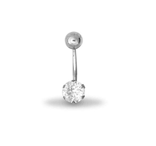 9ct White Gold Cubic Zirconia Belly Bar