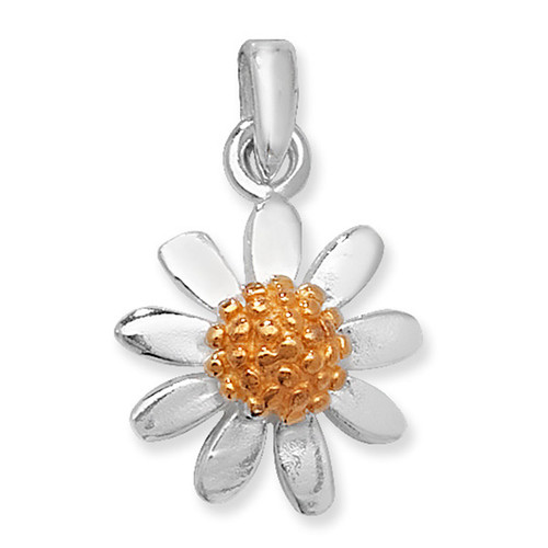 Sterling silver two tone daisy Pendant