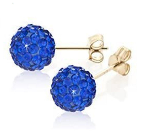8mm 9ct gold Deep Blue Crystal Shamballa style stud earrings