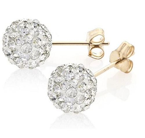 8mm 9ct Gold White Crystal shamballa style Stud Earrings