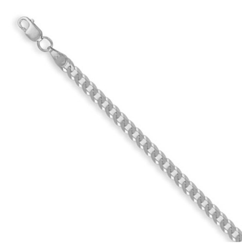 """Ladies 7.5"""" 3.5mm thick sterling silver flat curb bracelet 2.94g"""